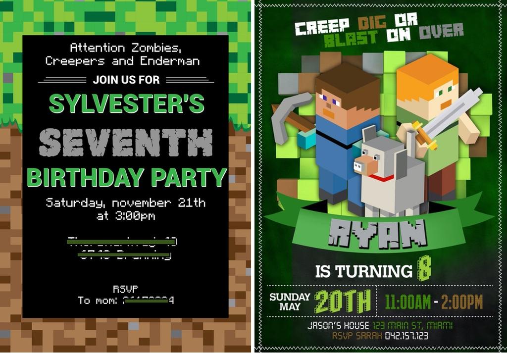 Minecraft invitationer etsy